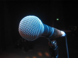 Microphone-in-blue-light